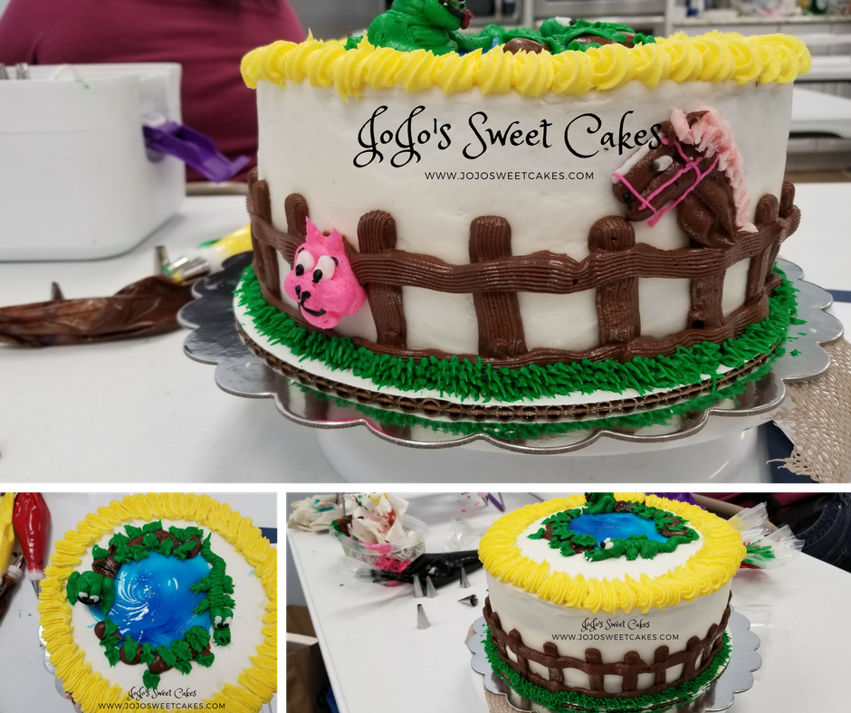 Farm Animal Cake | Farm Animal Cake Here is a Farm Animal Cake that I made complete with fence, horse, and pig in the pasture and frog and alligator in the pond | https://jojosweetcakes.com/farm-animal-cake/