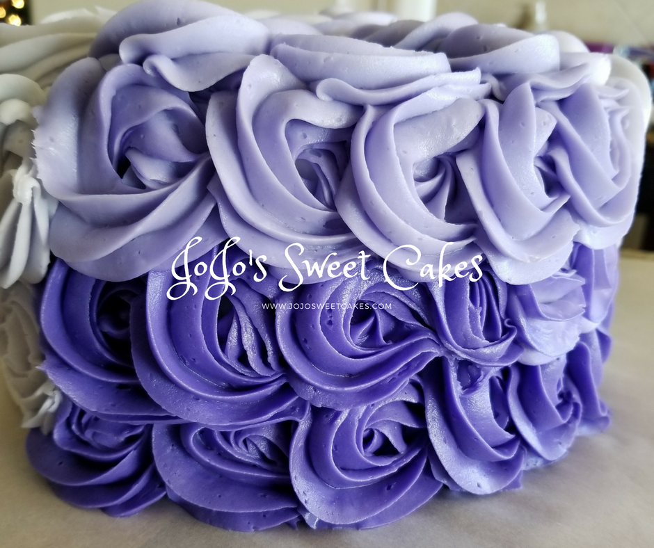 Rosette Ombre Cake | Rosette Ombre Cake This Purple Passion Rosette Ombre Cake is a simple beauty. | https://jojosweetcakes.com/rosette-ombre-cake/