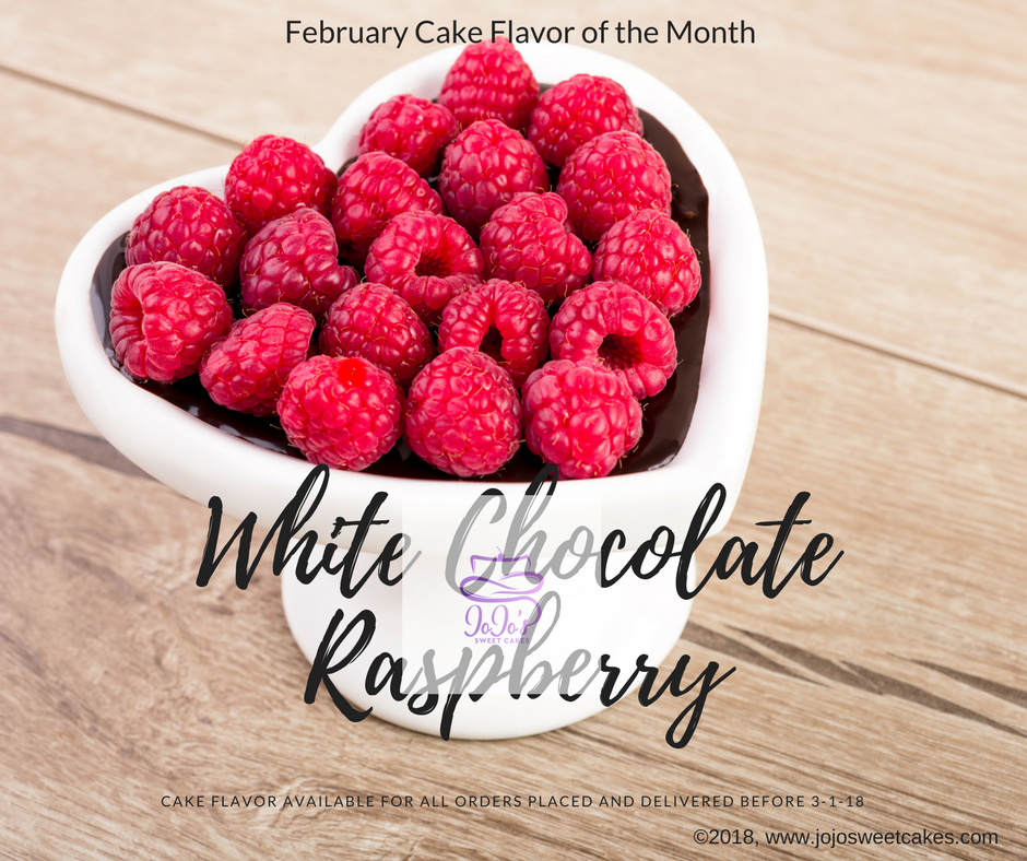 White Chocolate Raspberry Cake | February's Cake flavor of the month is my White Chocolate Raspberry Cake. This recipe isn't just any regular white cake recipe, the cake through and through is white chocolate and raspberries. | https://jojosweetcakes.com/white-chocolate-raspberry-cake
