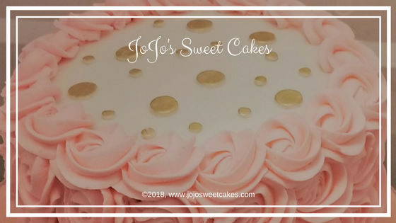 Baby Shower Circles and Rosettes | A cake I created recently is a Baby Shower Circles and Rosettes Cake. I absolutely love the color scheme of this beautiful cake. I started by creating a simple, but beautiful cake board in baby pink with a rose imprint and lightly dusted with gold dust. | http;//jojosweetcakes.com/baby-shower-circles-and-rosettes