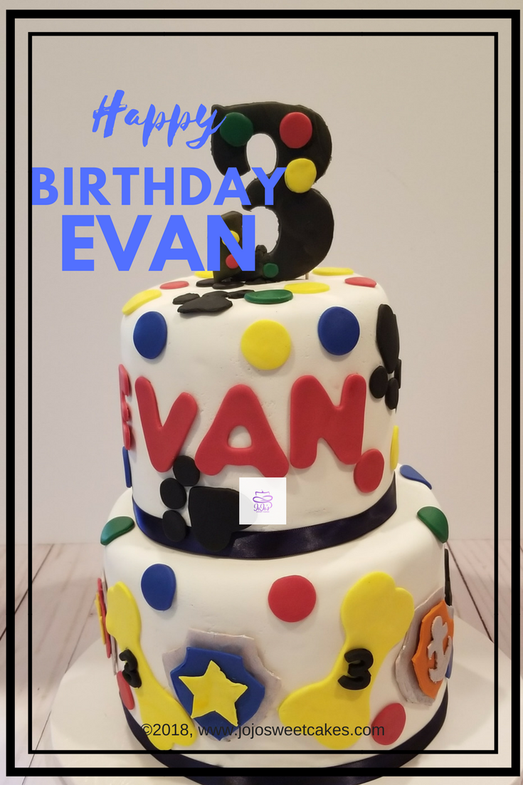 Paw Patrol Birthday Cake | We recently celebrated my son's 3rd birthday and of course, it was my pleasure to make his birthday cake. He loves Paw Patrol, and I planned this elaborate two tiered cookies and cream cake. The bottom tier was a chocolate cake with cookies and cream filling and the top tier was a vanilla cake with cookies and cream filling. Delicious!  https://www.jojosweetcakes.com/paw-patrol-birthday-cake