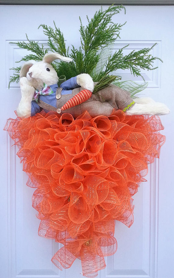 Easter Bunny Carrot Wreath