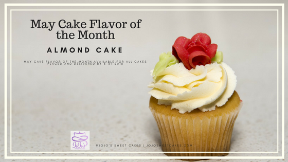 Sweet Almond Cake | May's Cake Flavor of the Month is a Sweet Almond Cake. | https://jojosweetcakes.com/sweet-almond-cake