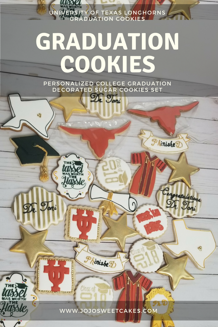 UT Longhorn Graduation Cookies | The set featured above are a set of University of Texas UT Longhorn Graduation Cookies. | https://www.jojosweetcakes.com/ut-longhorn-graduation-cookies