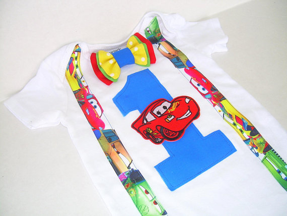Cars Birthday Shirt with Suspenders
